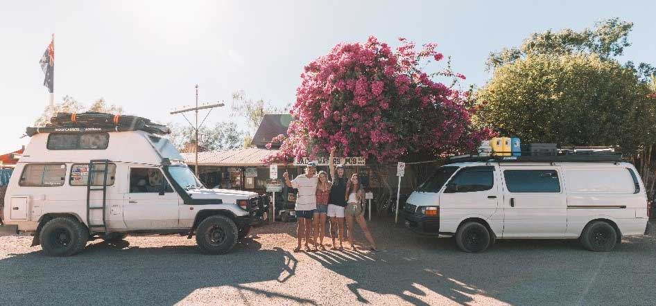 Tourists outside Daly Waters Historic Pub