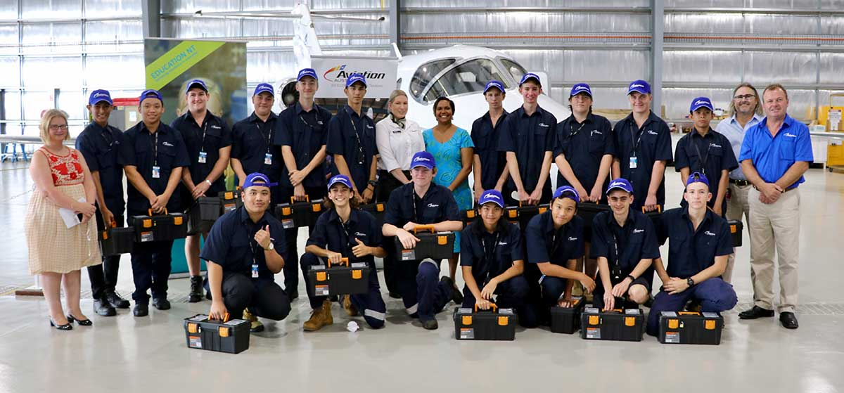 Group shot of students who are training is aircraft engineers