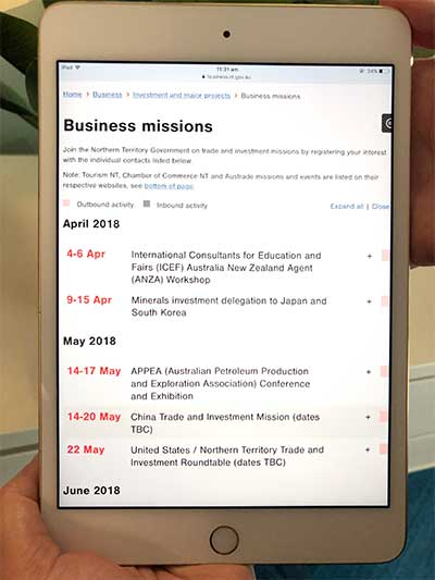 iPad showing the business missions calendar