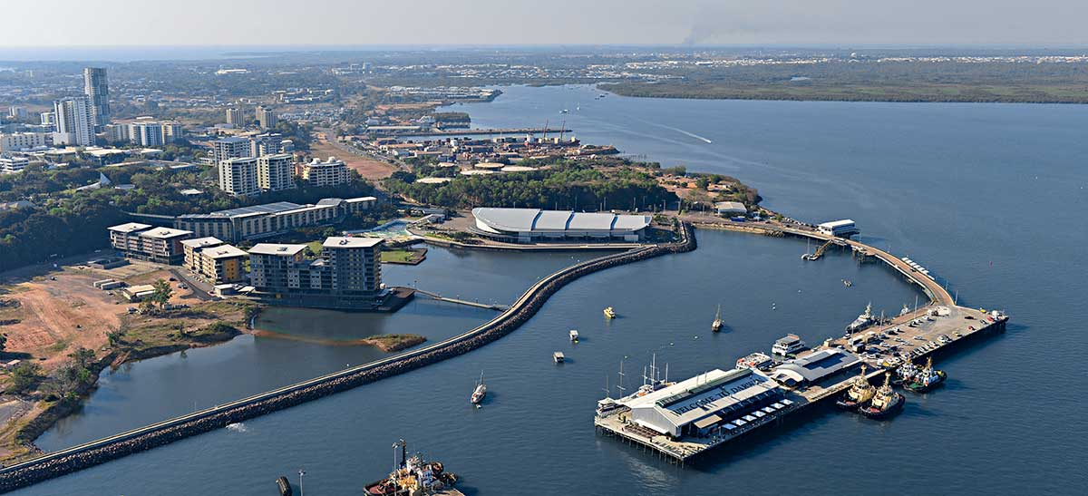 Aerial shot of Darwin Waterfront