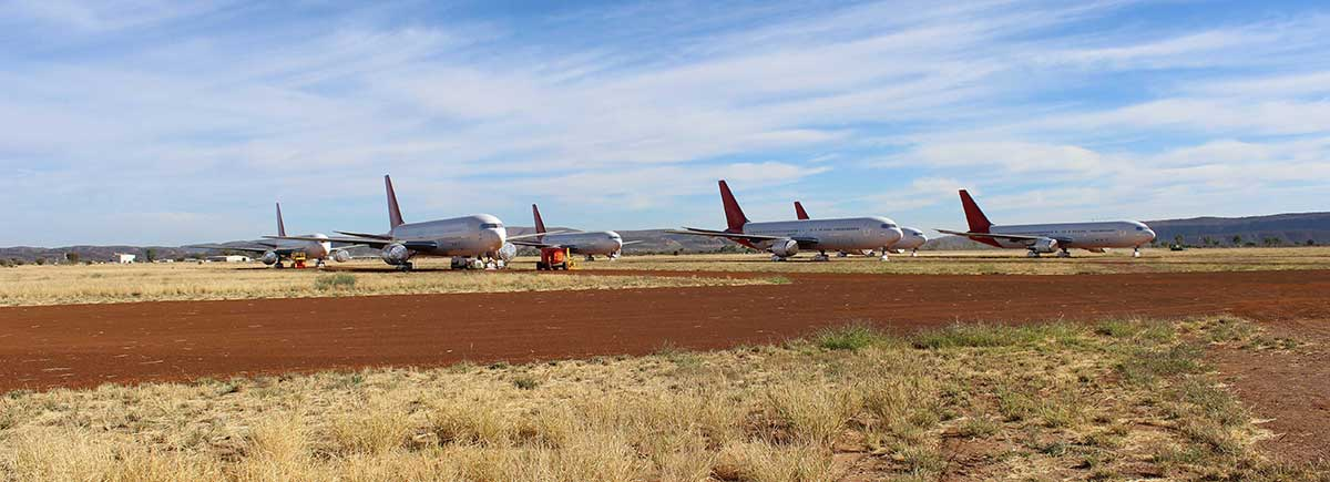 Aeroplanes in storage yard