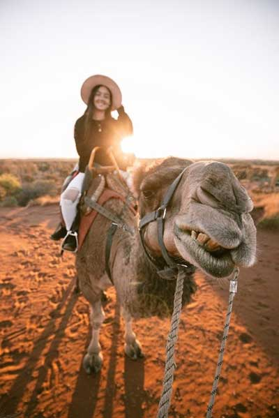 Young woman on a camel