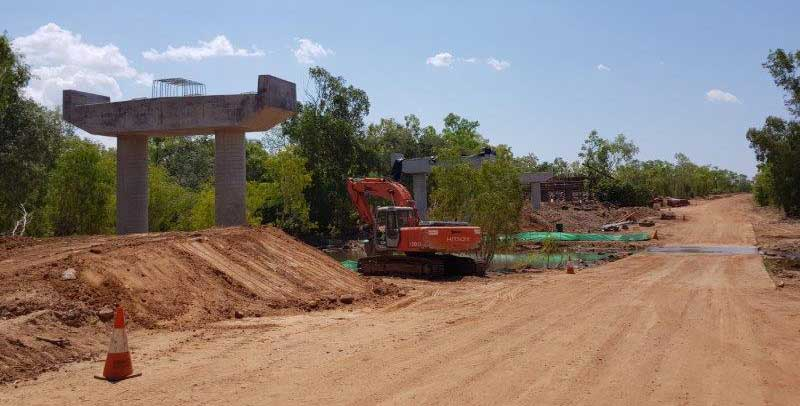 Road works on the Keep River Road upgrade