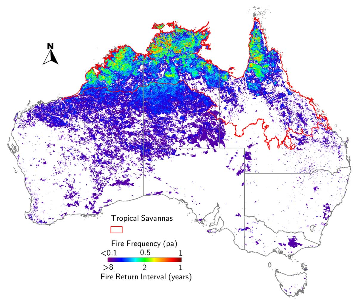 Map of Australia showing fire frequency locations in colours