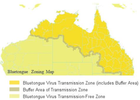 Bluetongue zoning map
