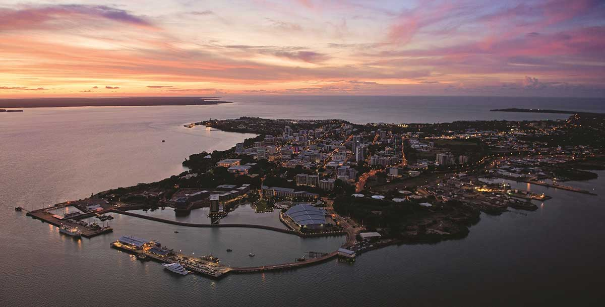 Aerial view of Darwin city at sunset