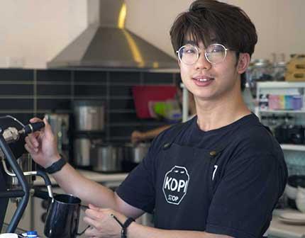 Waiter making coffee