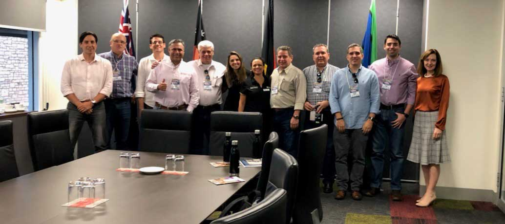 Group shot of the Brazilian delegation visiting Darwin