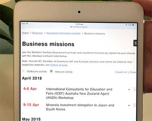 Online business missions calendar