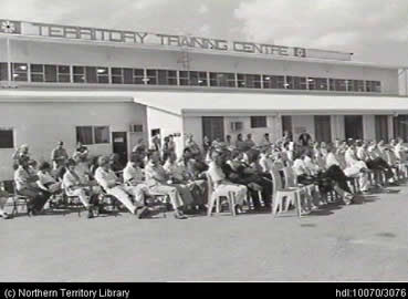 Students sitting in front of the Territory Training Centre in the 1980s, image courtesy of NT Library