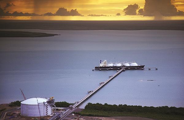 LNG tanker docked in harbour
