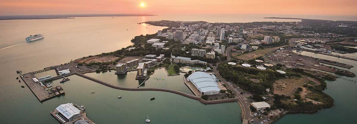 Aerial view of Darwin Waterfront at sunset