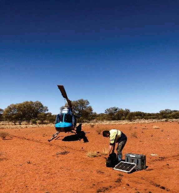 Installing Manetotelluric data collection equipment in the NT to better understand geological structure deep below the ground.