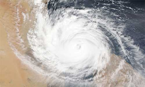 Aerial view of a cyclone