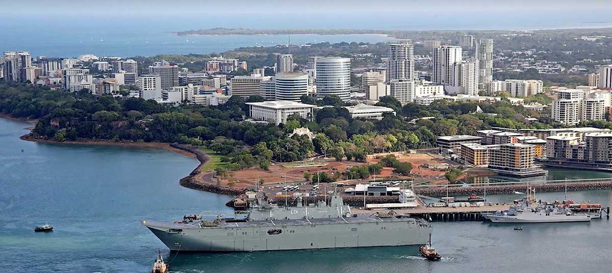 Defence ship in Darwin harbour
