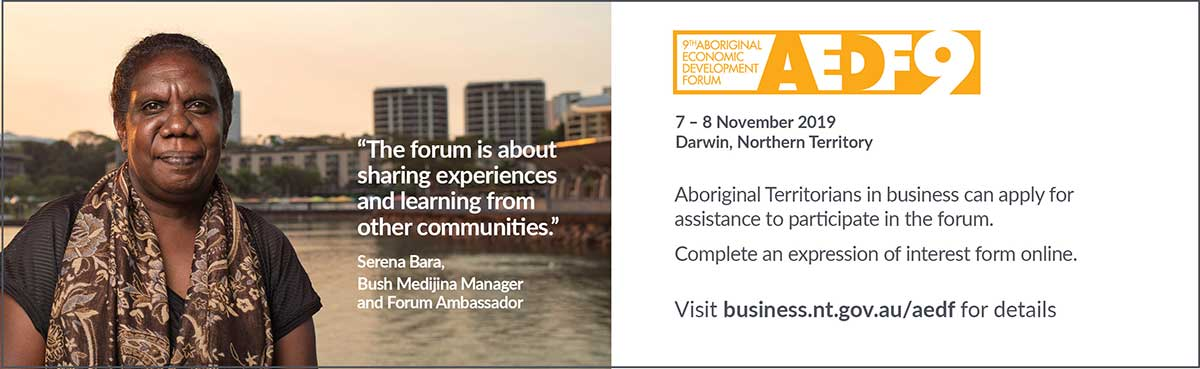 AEDF, 7-8 November 2019, for more information go to business.nt.gov.au/aedf