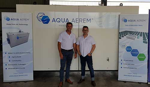 Aqua Aerem co-founders standing with their water maker