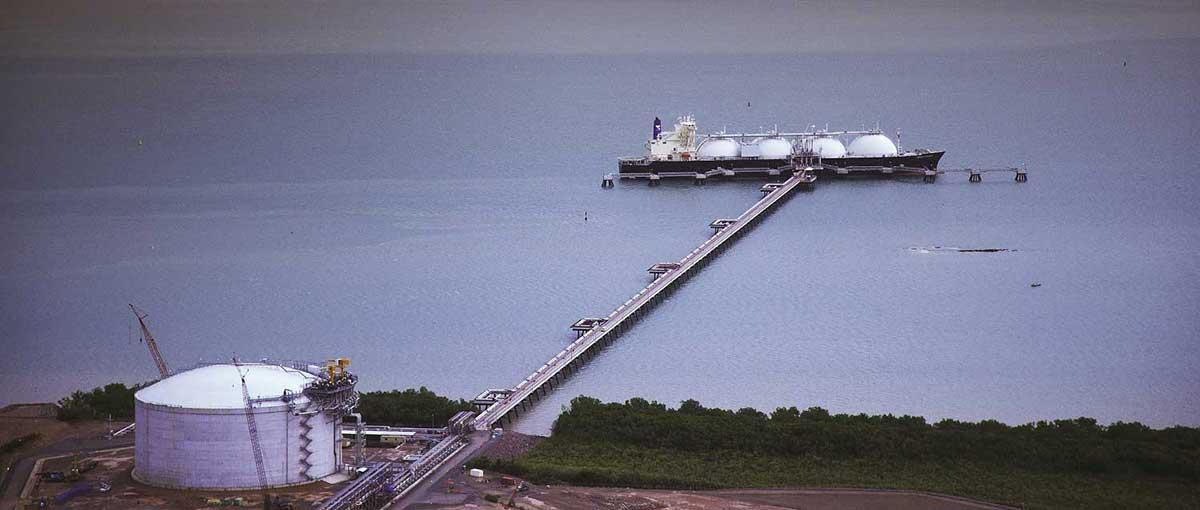 LNG boat docked at wharf