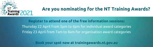 NT Training Awards information session, register at trainingawards.nt.gov.au