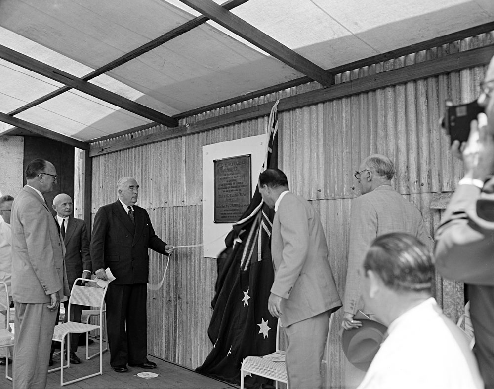 The then Prime Minister of Australia R.G Menzies officially opening the treatment plant at Rum Jungle (1957). National Archives of Australia: A1200, L23817