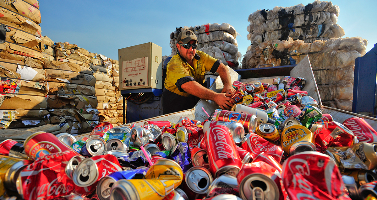Drink cans being recycled