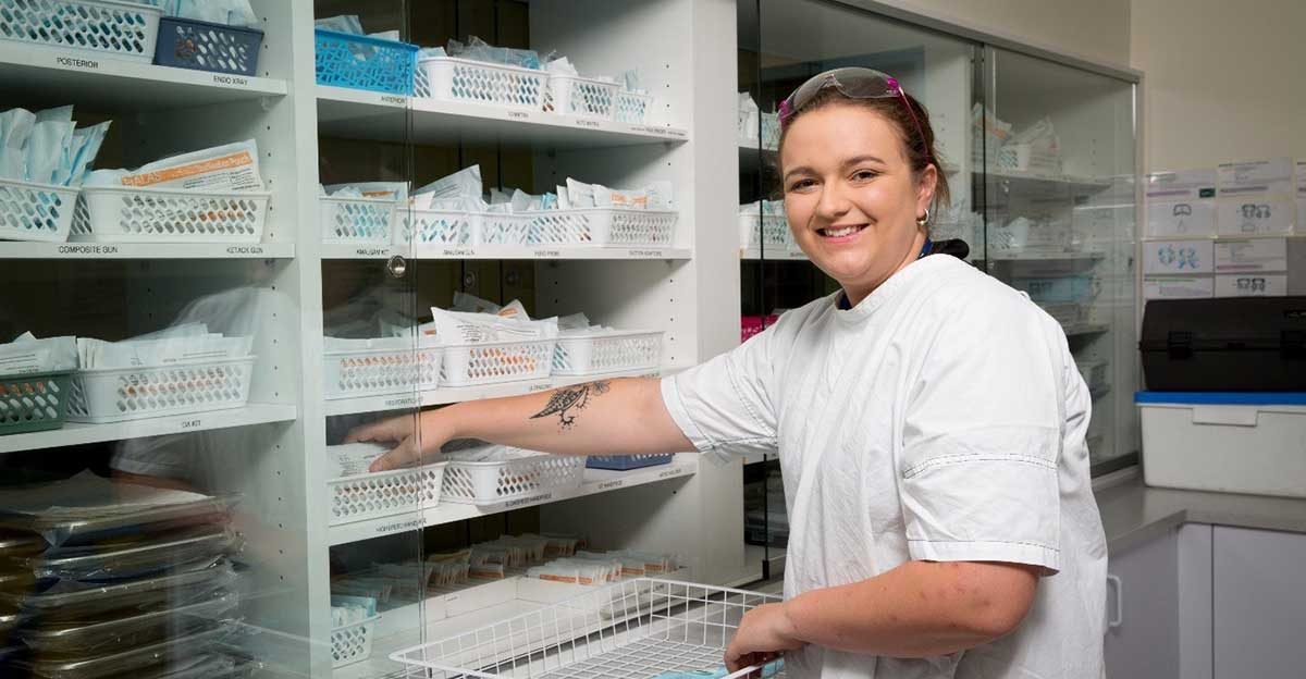 Young woman working in a pharmacy