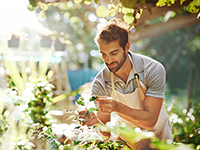 Shot of a man tending to the plants in his nursery