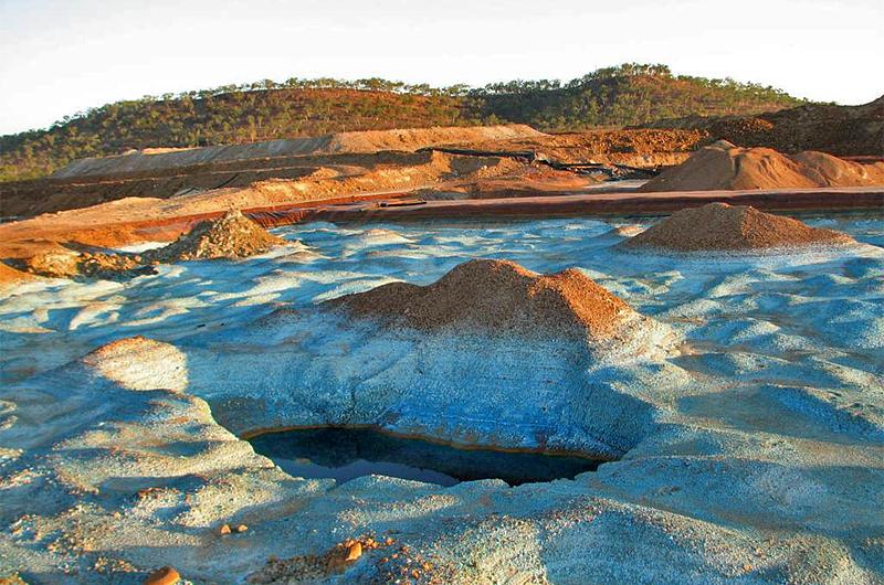 Copper precipitate in the former vat leach pond (2011)